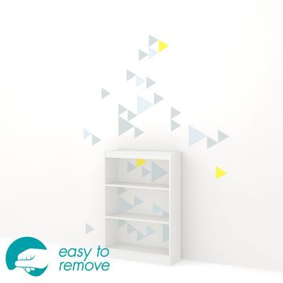 Axess 3-Shelf Bookcase with Funny Triangles Decals in White - 8050132K