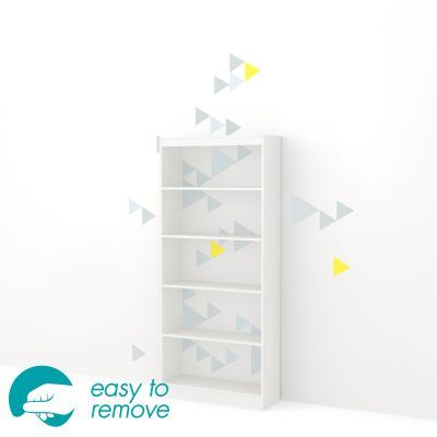 Axess 5-Shelf Bookcase with Funny Triangles Decals in White - 8050134K
