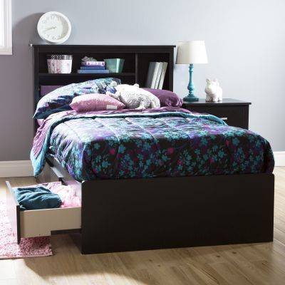 Fusion Twin Mates Bed with 3 Drawers Pure Black - 9008D1