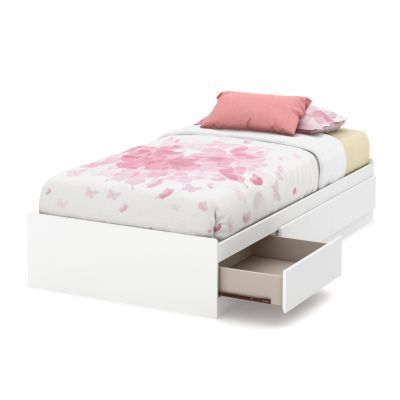 Callesto Twin Mates Bed with 3 Drawers Pure White - 9018A1