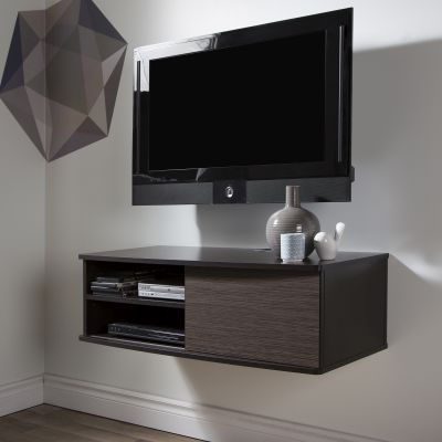 Agora 38'' Wide Wall Mount Media Console Chocolate & Zebrano - 9028674