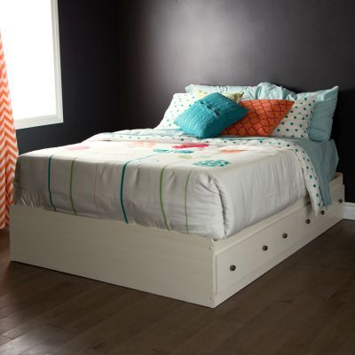 Country Poetry Full Mates Bed with 3 Drawers in White - 9031211