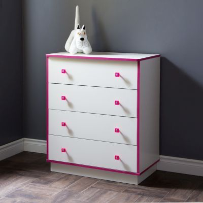 Logik 4-Drawers Chest Pure White and Pink - 9039034