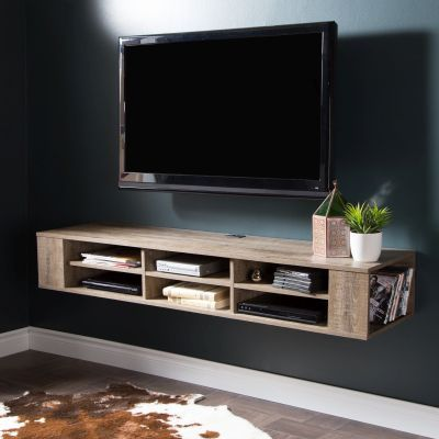 City Life 66'' Wall Mounted Media Console Weathered Oak - 9062677
