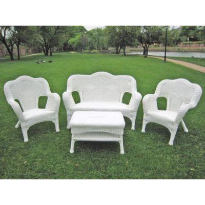 Four Piece Maui Outdoor Seating Group in White - 3180-WT