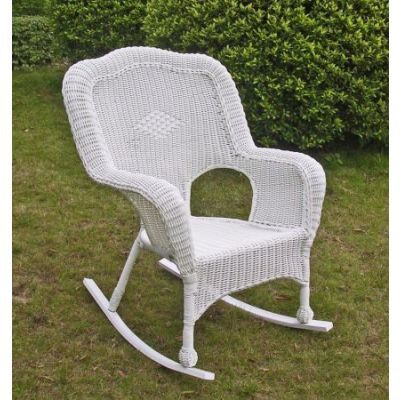 Camelback Resin Wicker Rocker in White - 3182-1CH-WT