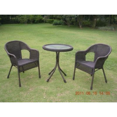 Set of Three Resin Wicker Bistro Group in Antique Black - 3186-AB