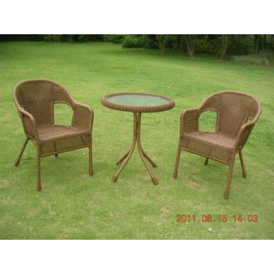 Set of Three Resin Wicker Bistro Group in Mocha - 3186-MO