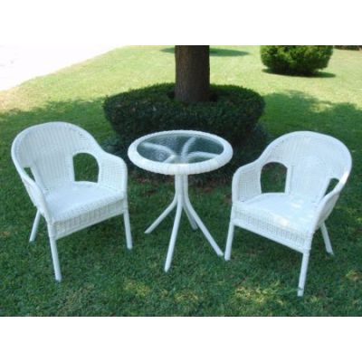Set of Three Resin Wicker Bistro Group in White - 3186-WT