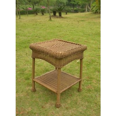 PVC Resin and Steel Outdoor Side Table in Mocha - 3188-MO