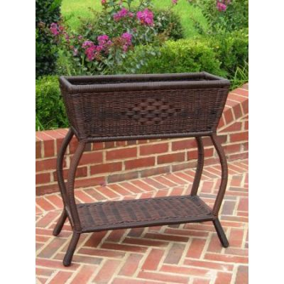 Resin Wicker Rectangular Plant Stand in Antique Pecan - 3190-AP
