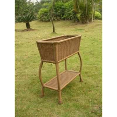 Resin Wicker Rectangular Plant Stand in Mocha - 3190-MO