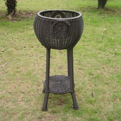 Round Resin Wicker Plant Stand in Antique Black - 3197-AB