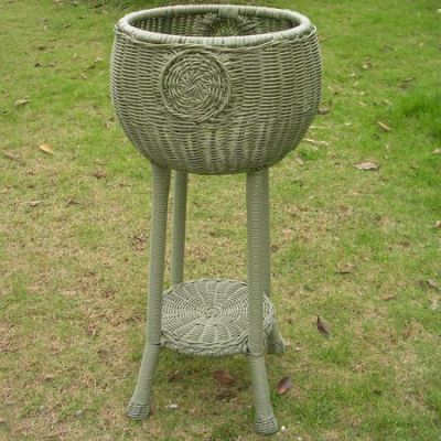 Round Resin Wicker Plant Stand in Antique Moss - 3197-AM