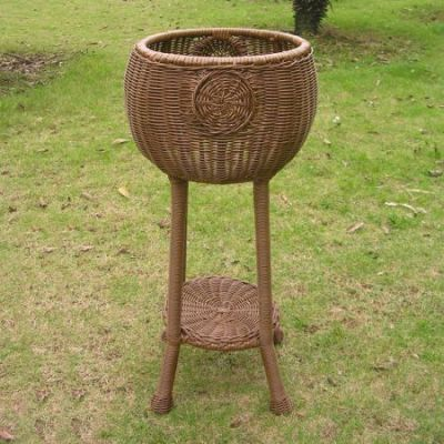 Round Resin Wicker Plant Stand in Mocha - 3197-MO