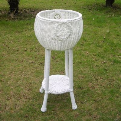 Round Resin Wicker Plant Stand in White - 3197-WT