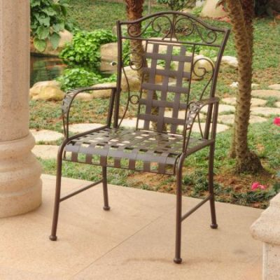 Mandalay Set of Two Iron Chairs in Rustic Brown - 3450-2CH-RT-BN