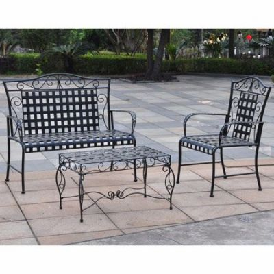 Mandalay Set of Three Settee Group in Antique Black - 3450-3PC-ANT-BK