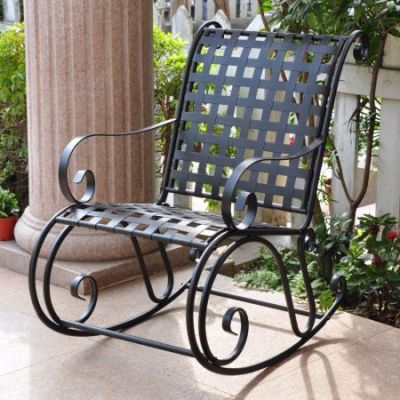 Mandalay Iron Rocking Chair in Antique Black - 3453-ANT-BK