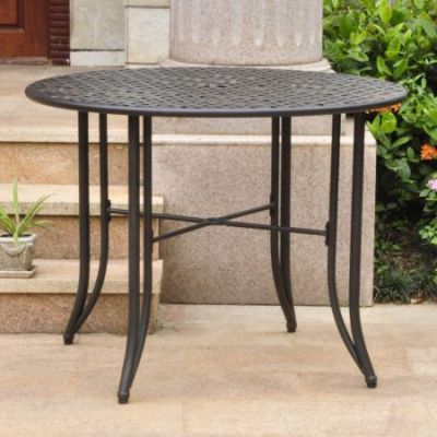 Mandalay Iron Outdoor 39'' Dining Table in Antique Black - 3454-TBL-ANT-BK