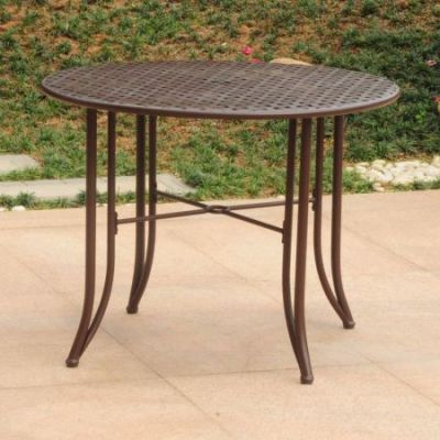 Mandalay Iron Outdoor 39'' Dining Table in Rustic Brown - 3454-TBL-RT-BN