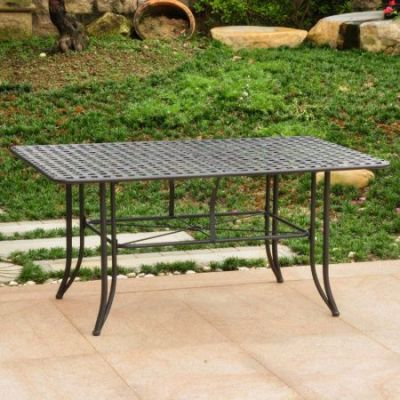 Mandalay Iron Outdoor 60'' Dining Table in Antique Black - 3455-TBL-ANT-BK