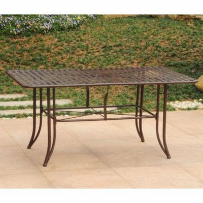 Mandalay Iron Outdoor 60'' Dining Table in Rustic Brown - 3455-TBL-RT-BN
