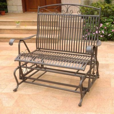 Mandalay Double Iron Glider in Rustic Brown - 3458-RT-BN