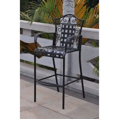 Set of 2 Mandalay Iron Bar Height Chair in Antique Black - 3467-2CH-ANT-BK