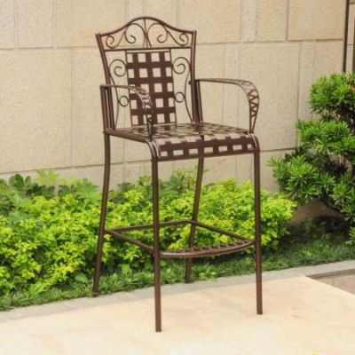 Set of 2 Mandalay Iron Bar Height Chair in Bronze - 3467-2CH-HD-BZ