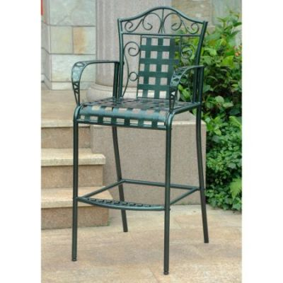 Set of 2 Mandalay Iron Bar Height Chair in Verdi Green - 3467-2CH-HD-VG