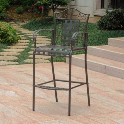 Set of 2 Mandalay Iron Bar Height Chair in Rustic Brown - 3467-2CH-RT-BN