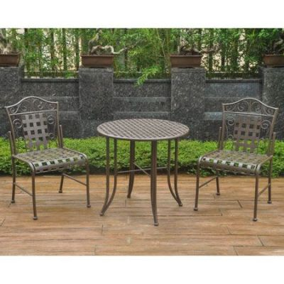 Set of Three Mandalay Iron Bistro Set in Rustic Brown - 3473-RT-BN