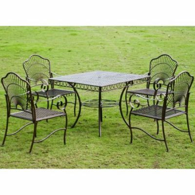 5-Piece Sun Ray Iron Square Dining Group in Bronze - 3483-HD-BZ