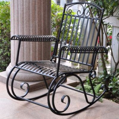 Iron Tropico Rocker in Antique Black - 3491-ANT-BK