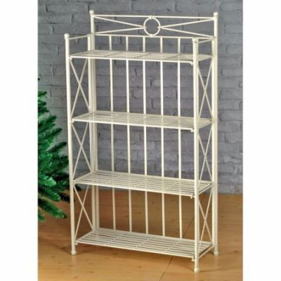 Iron 4-Tier Folding Bakers Rack in White Wash - 3522