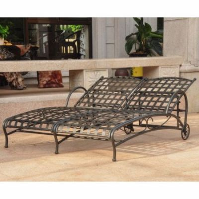 Santa Fe Nailhead Double Chaise Lounge in Antique Black - 3572-ANT-BK