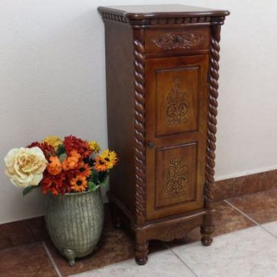 Carved Wood 1 Drawer/1 Door Tall Cabinet in Brown Stain - 3809