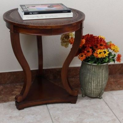 Carved Round Serpentine Table in Brown Stain - 3833