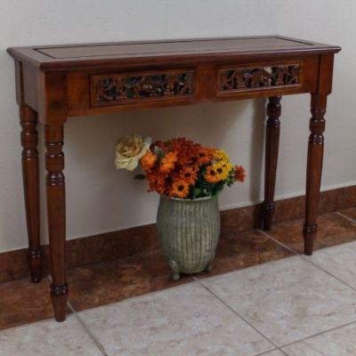 Carved Two Drawer Table in Brown Stain - 3834
