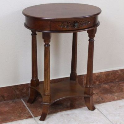 One Drawer Oval Table in Brown Stain - 3843