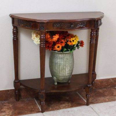 Carved Wood One Drawer Console Table in Brown Stain - 3845