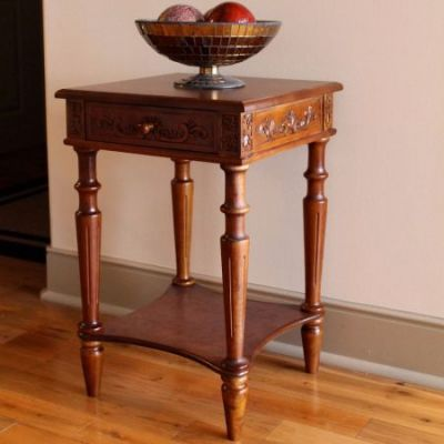 Carved Wood Square Table in Brown Stain - 3859