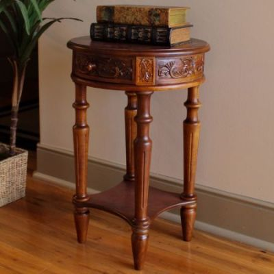 Carved Wood Round Table in Brown Stain - 3860