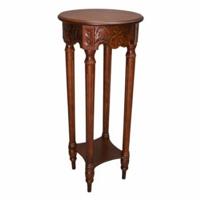 Carved Round Tall Plant Table in Brown Stain - 3861