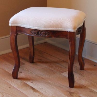 Wood Stool with Cushioned Top in Brown Stain - 3863