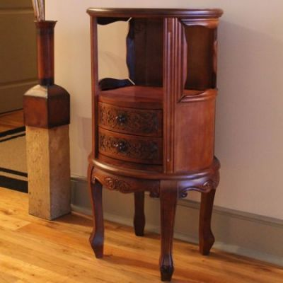 Wood Telephone Table with Two Drawers in Brown Stain - 3874