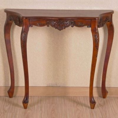 Carved Four Leg Scalloped Wall Table in Brown Stain - 3875