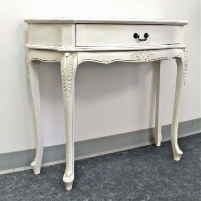 Carved Wood 1-Drawer Wall Table in Antique White - 3927-AW