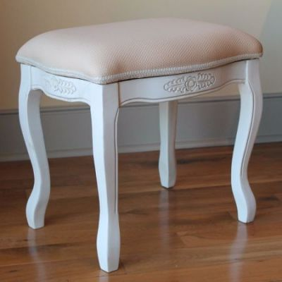 Vanity Stool with Cushion Top in Antique White - 3963-AW
